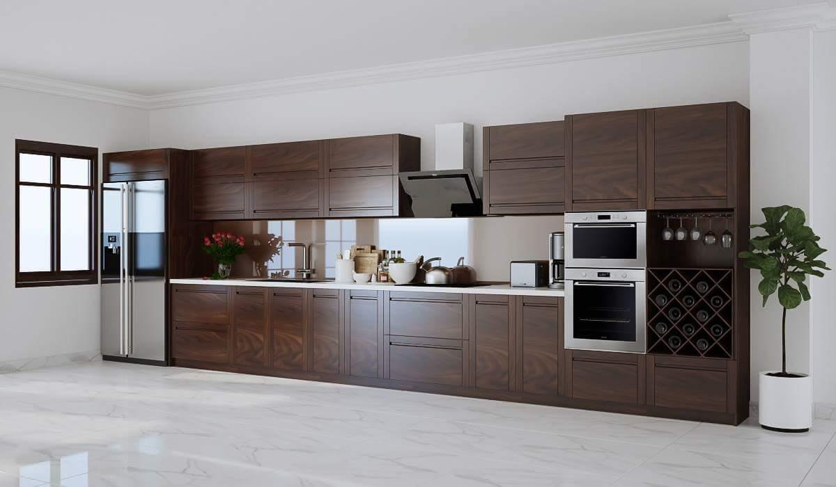 Tủ bếp gỗ óc chó giá rẻ, thiết kế giữ nguyên màu sắc tự nhiên của loại gỗ óc chó