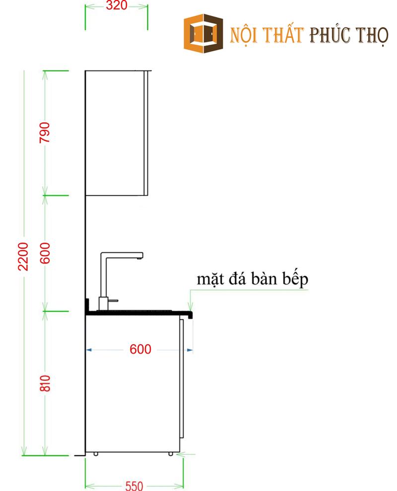 bảng giá tủ bếp gỗ sồi Mỹ