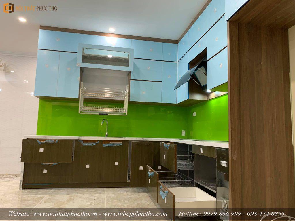 Tủ bếp Acrylic bóng gương An Cường nhà anh Lâm Tại Vincom Shophouse Hòa Bình 02