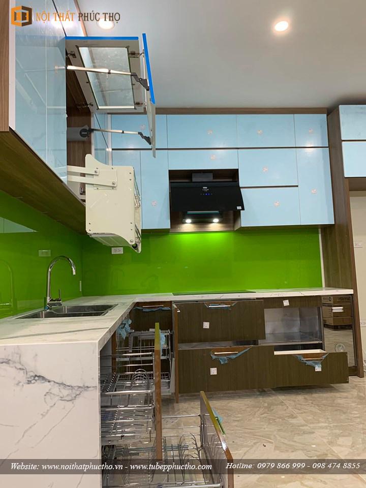 Tủ bếp Acrylic bóng gương An Cường nhà anh Lâm Tại Vincom Shophouse Hòa Bình 04