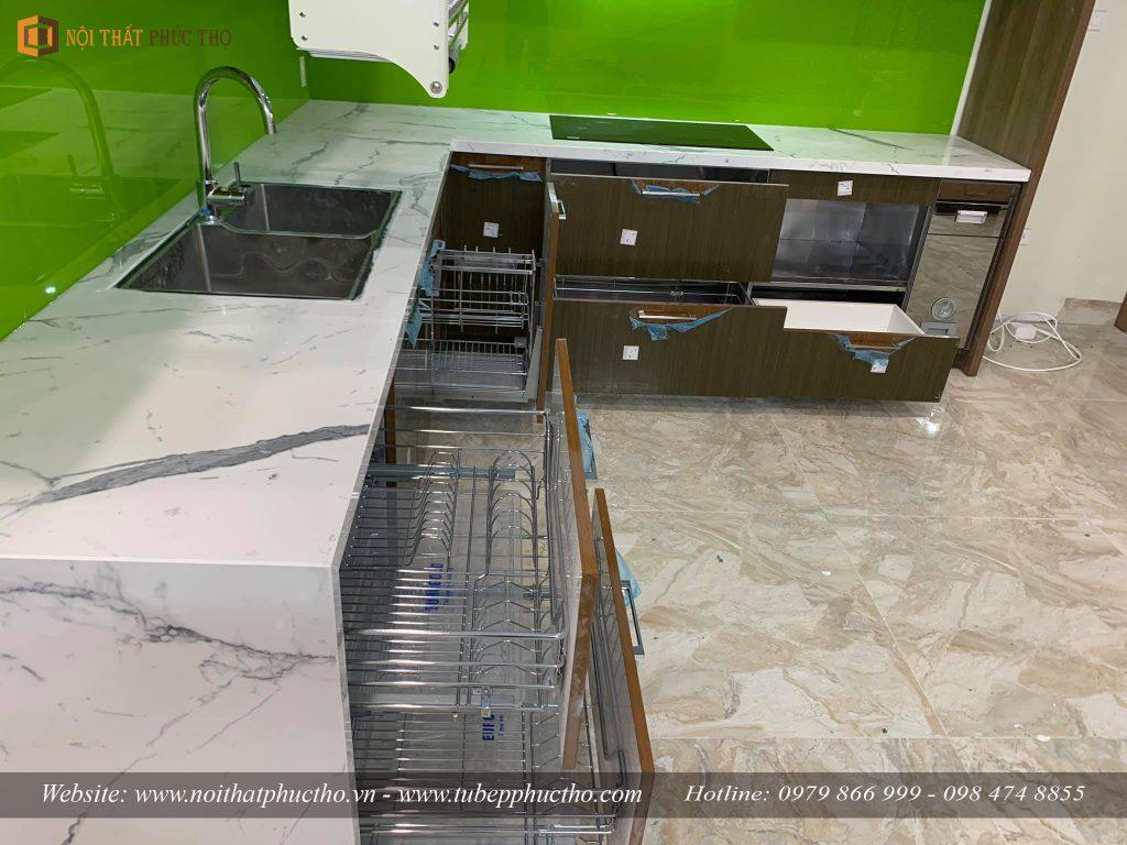 Tủ bếp Acrylic bóng gương An Cường nhà anh Lâm Tại Vincom Shophouse Hòa Bình 06