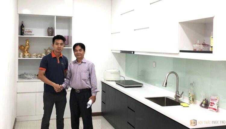 Tủ Bếp Melamine An Cường code MDF lõi xanh chống ẩm – Tại nhà chú Quý, CC Ngoại Giao Đoàn, Hà Nội