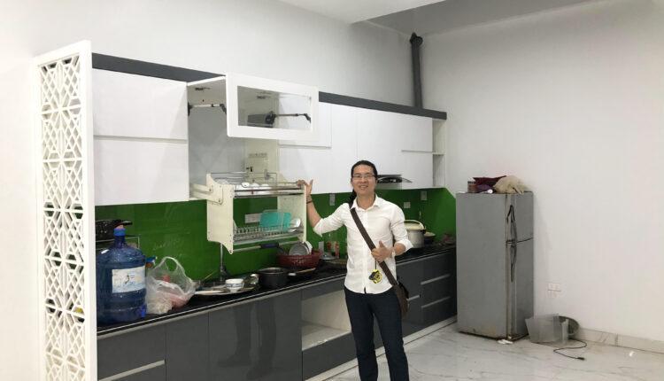 Tủ bếp Acrylic An Cường bóng gương – Nội Thất Phúc Thọ Thi Công nhà chị Lan – Văn Giang – Hưng Yên