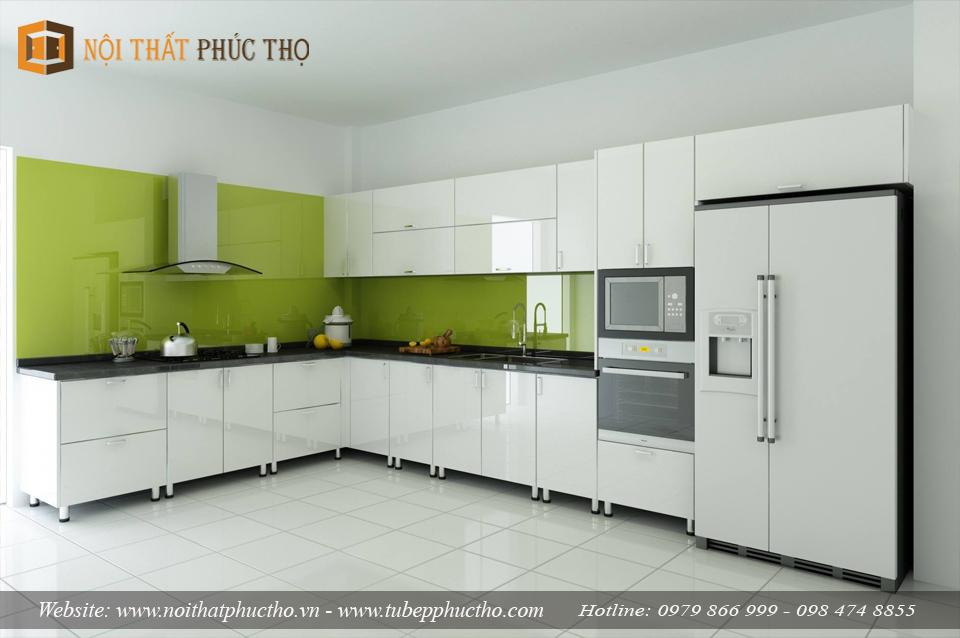 Thi công tủ bếp acrylic hình chữ l giúp tối ưu không gian đứng nấu nướng