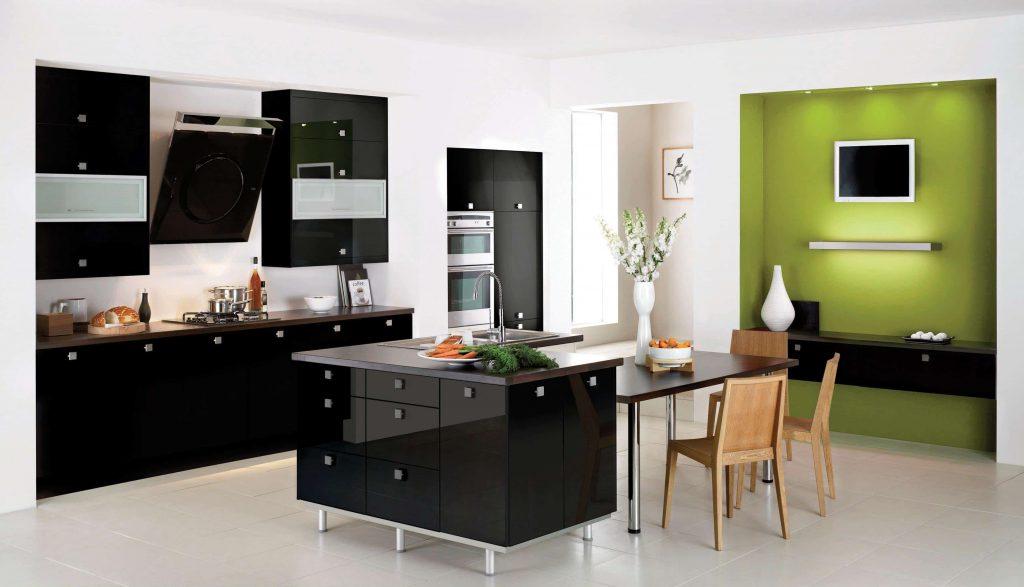Mẫu 2. Tủ bếp acrylic chữ I đơn giản phù hợp với những căn hộ chung cư nhỏ