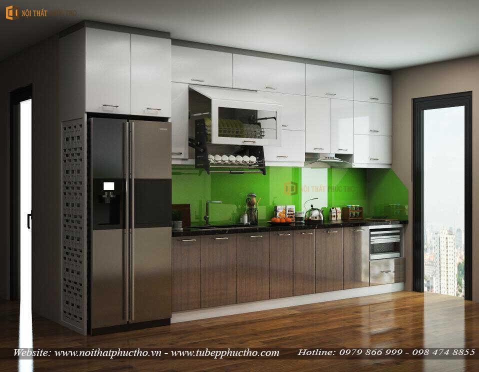 Mẫu 5: Mẫu tủ bếp chữ I phù hợp với căn hộ chung cư nhỏ