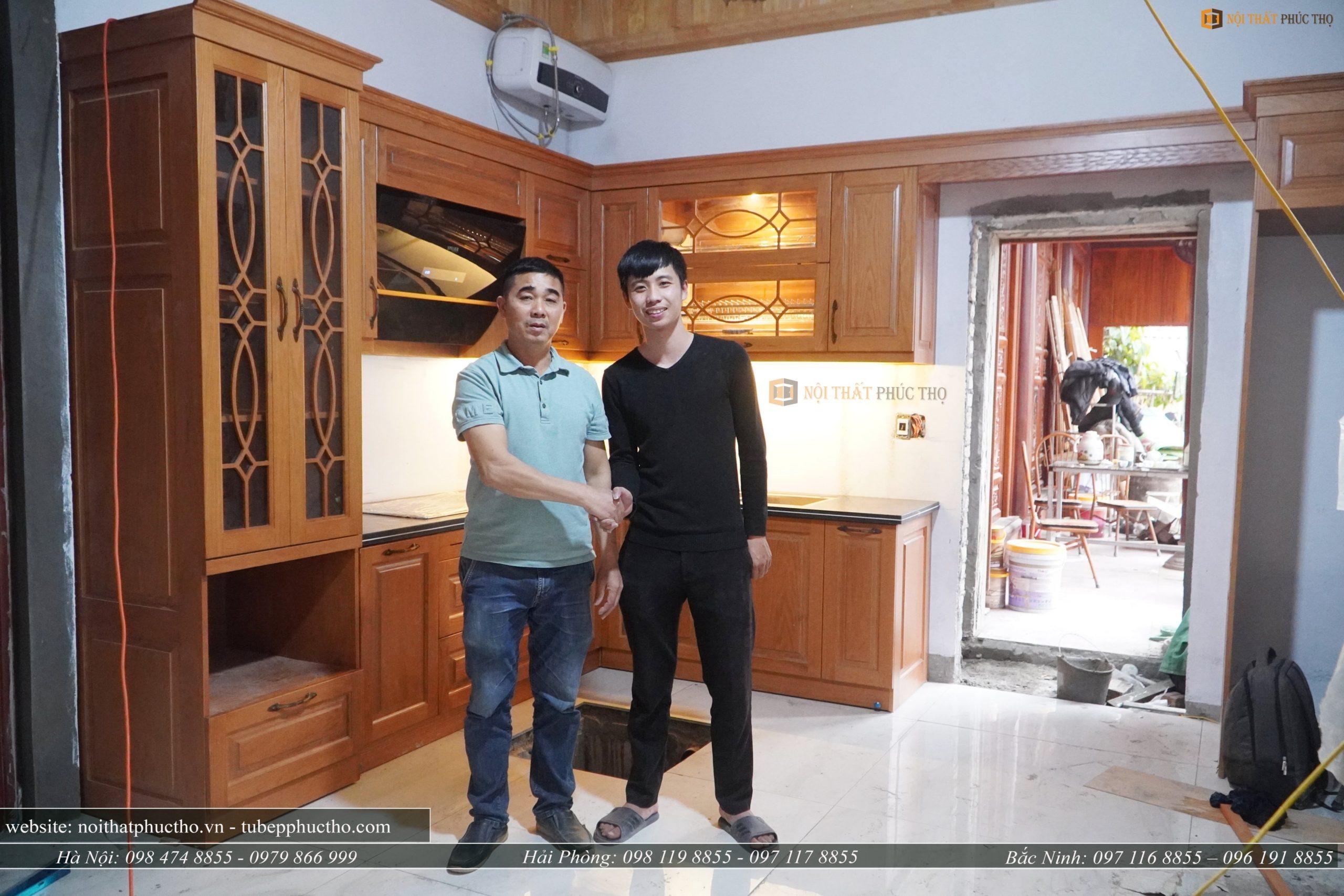 bàn giao tủ bếp gỗ sồi nga tại nhà Thanh Trì Hà Nội