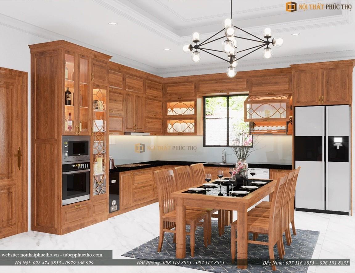 Tủ bếp gỗ sồi nga 05