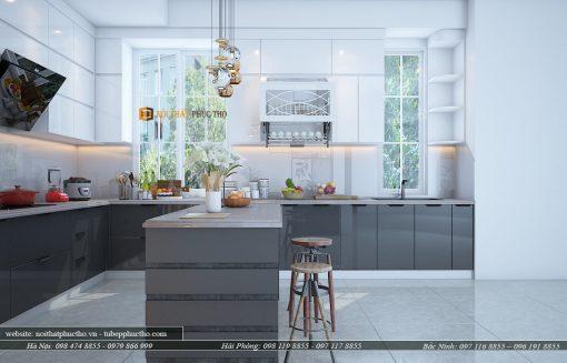 mẫu tủ bếp acrylic nhà cô Nguyệt-Ngoại Giao Đoàn