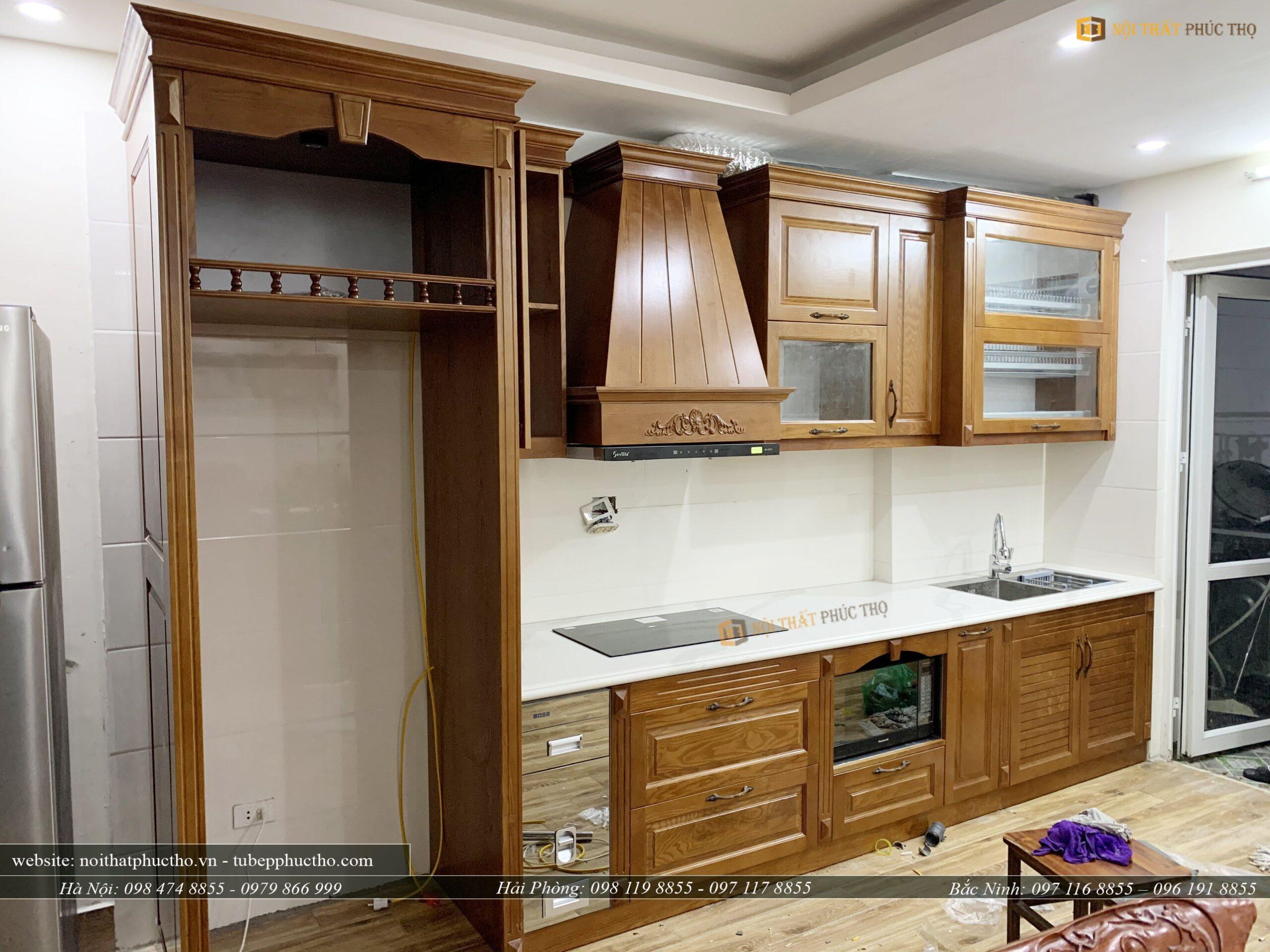 còn đây là mẫu tủ bếp trên khi được hoàn thiện thực tế