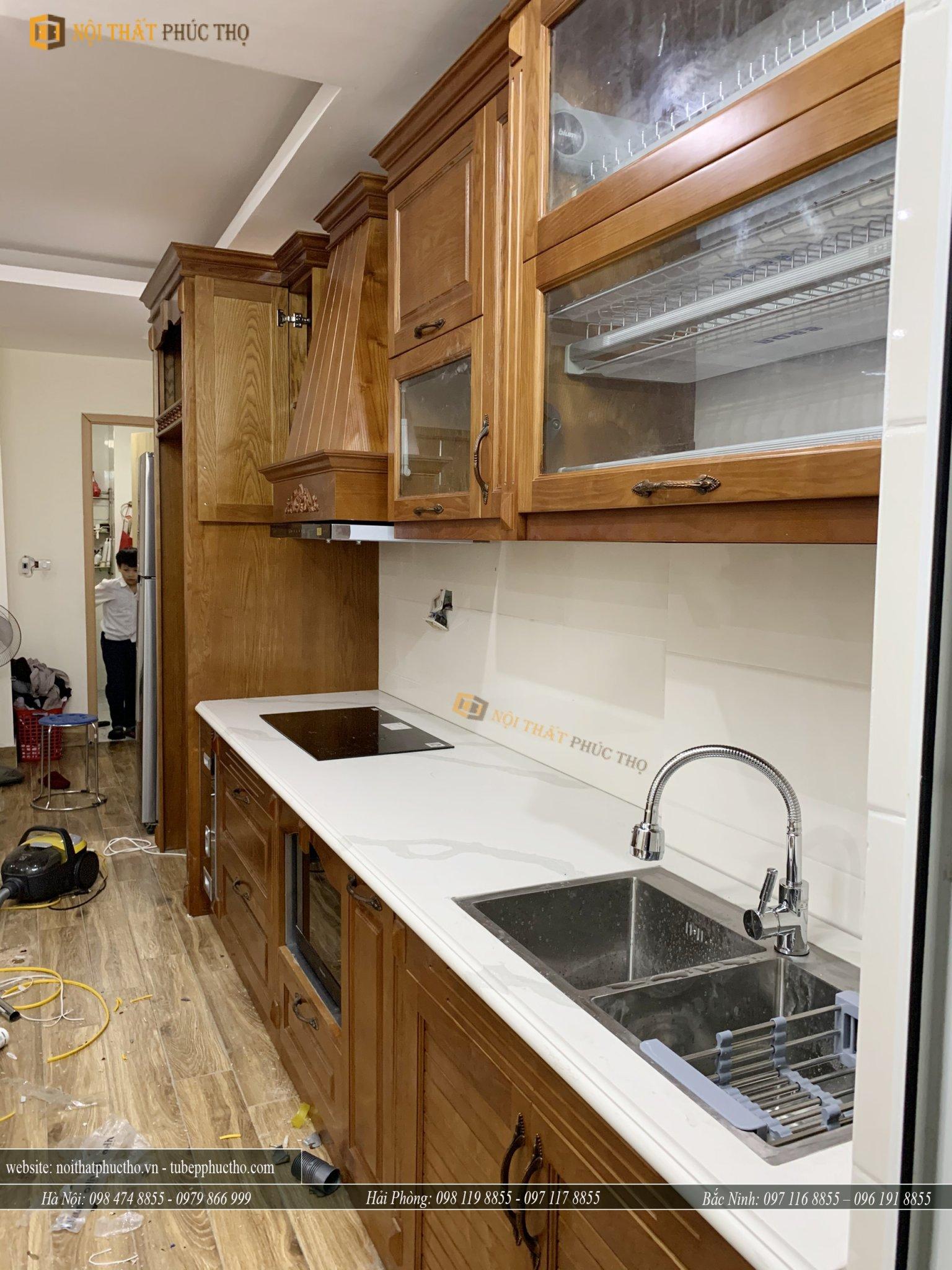 còn đây là mẫu tủ bếp trên khi được hoàn thiện thực tế 02