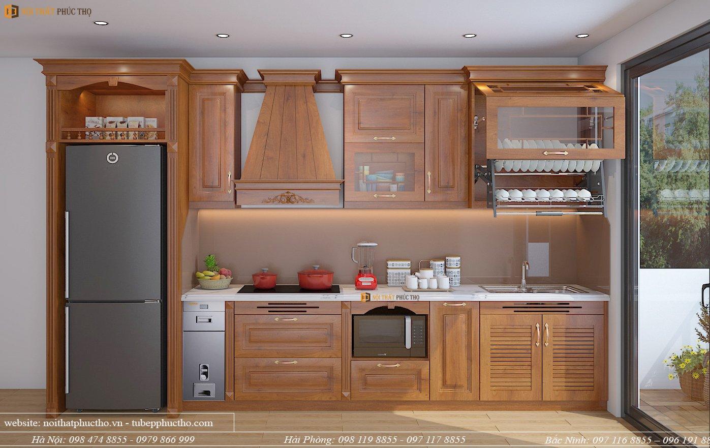 mẫu tủ bếp gỗ sồi nga giả tân cổ điển